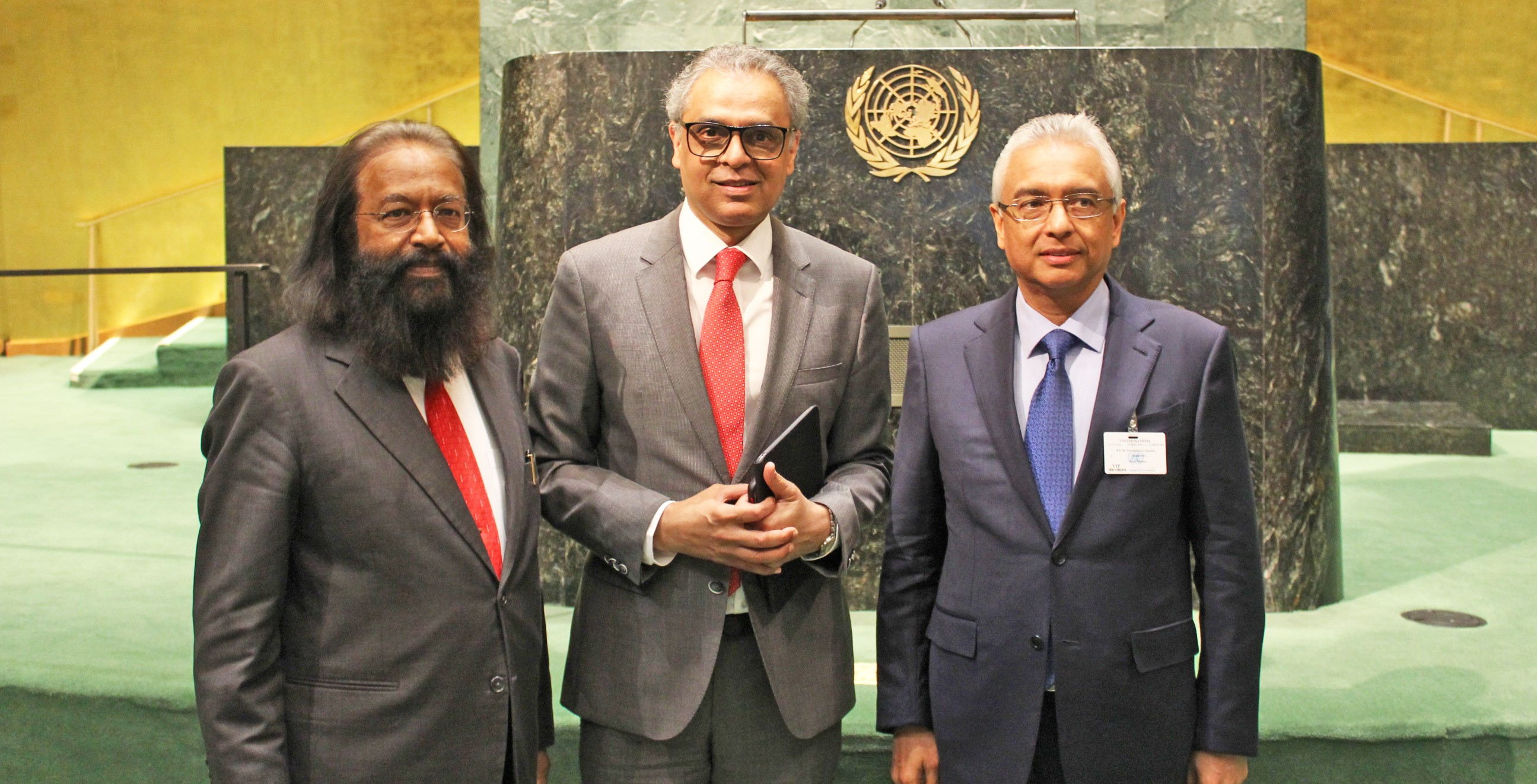 Amb. Syed Akbaruddin with Prime Minister Pravind Kumar Jugnauth and Amb. Jagdish Dharamchand Koonjul <br> of Mauritius at the UN General Assembly