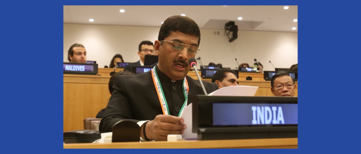 "Shri Sharad Tripathi, Hon'ble Member of the Parliament at the Third Committee Meeting on Agenda Item 70 ""Promotion and Protection of the Rights of Children"""