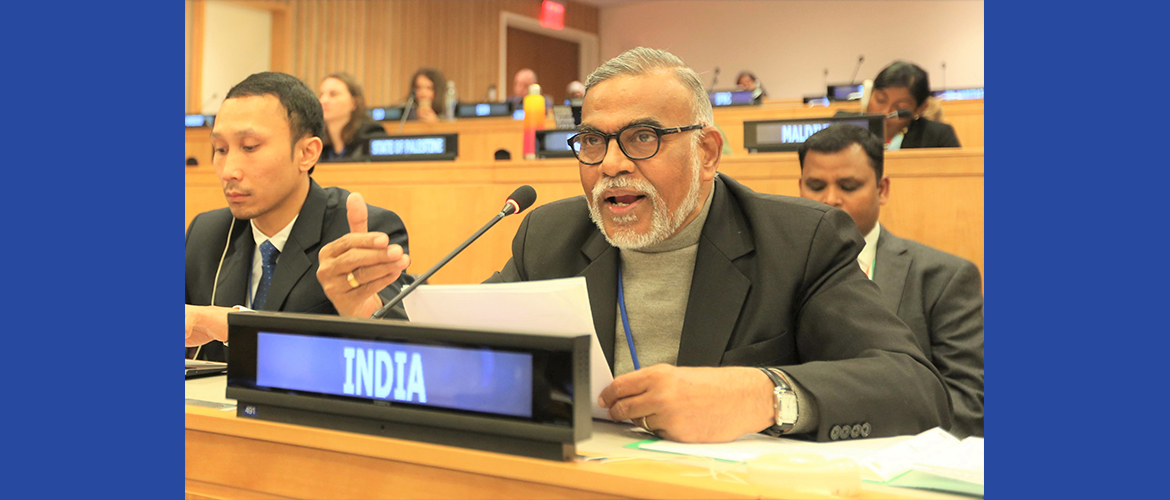 "Dr. Narendra Damodar Jadhav, Hon'ble Member of the Parliament at the Second Committee Meeting on <br> Agenda Item : 24 ""Eradication of Poverty and Other Development Issues"""