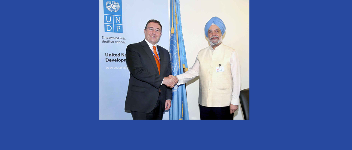 Shri. Hardeep S Puri, Hon'ble Minister of State (I/C) for Housing and Urban Affairs <br> Calls on UNDP Administrator Mr. Achim Steiner