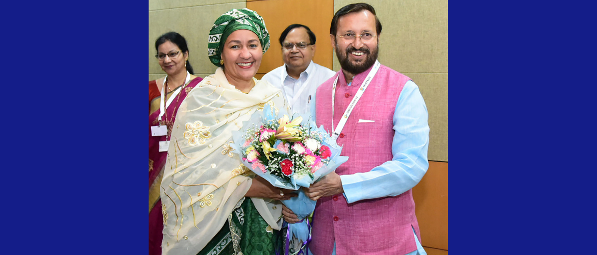 H.E. Ms. Amina J Mohammed, UN Deputy-Secretary General met with Mr. Prakash Javadekar, <br> Minister for Environment, Forest & Climate Change on the sidelines of UNCCD COP14