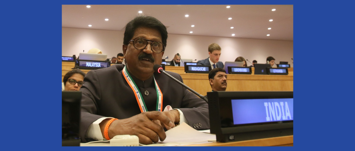 "Shri Arvind Ganpat Sawant, Hon'ble Member of the Parliament at the Second Committee Meeting on Agenda Item 21 ""Implementation of the outcomes of the UN Conferences on Human Settlements and Housing and Sustainable Urban Development and  strengthening of the  UN Human Settlements Programme (UN-Habitat)"""