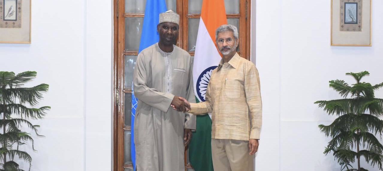 H.E. Prof. Tijjani Muhammad-Bande,  President-elect of the 74th Session of UN General Assembly met with <br> External Affairs Minister Dr. S. Jaishankar in Delhi