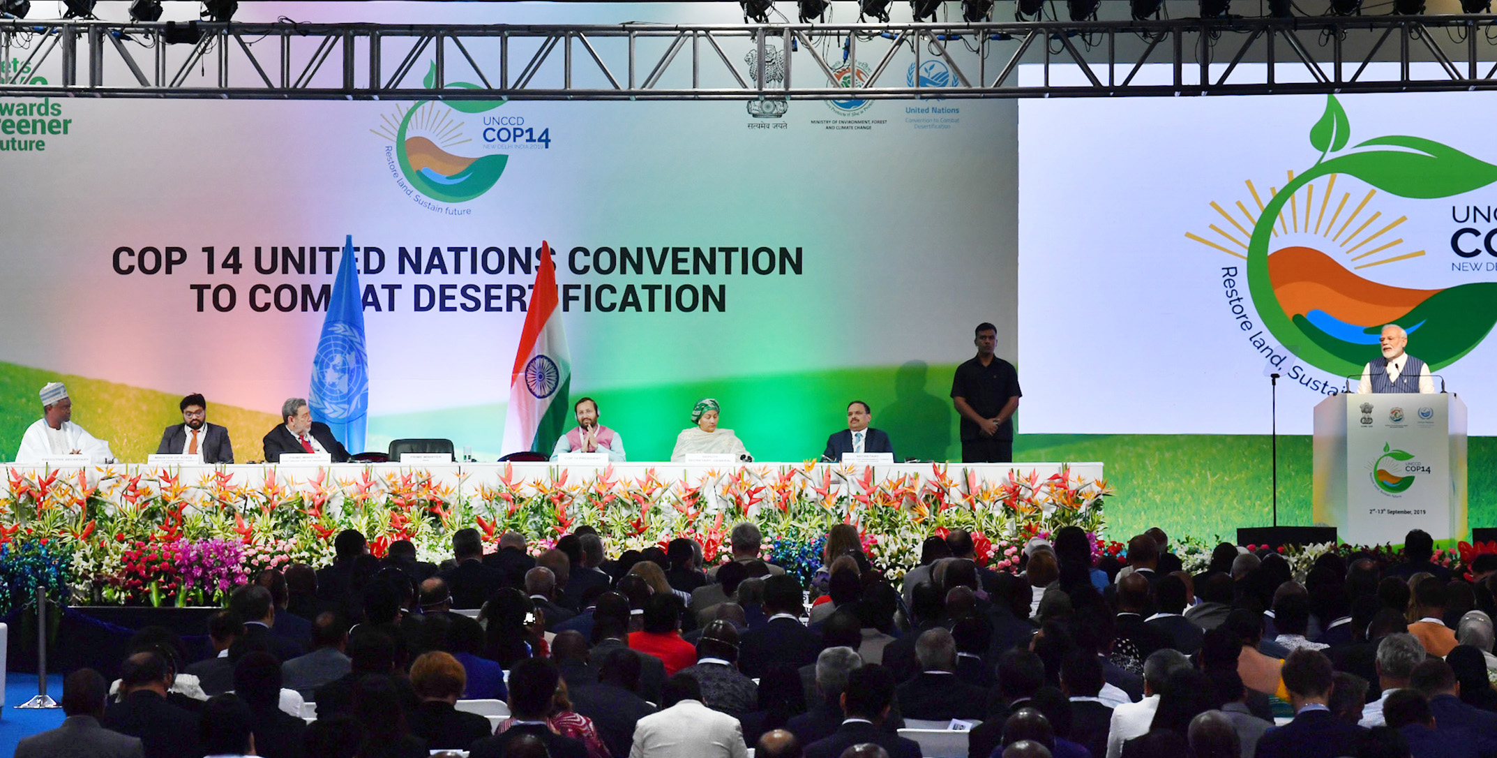 Prime Minister Narendra Modi addresses the 14th Conference of Parties of the <br> UN Convention to Combat Desertification