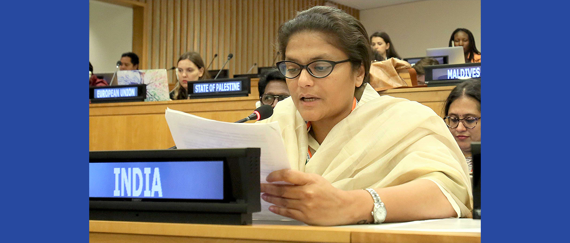 "Hon'ble Member of the Parliament Smt. Sushmita Dev <br> at the Third Committee Meeting on Agenda Item: 29  ""Advancement of Women"