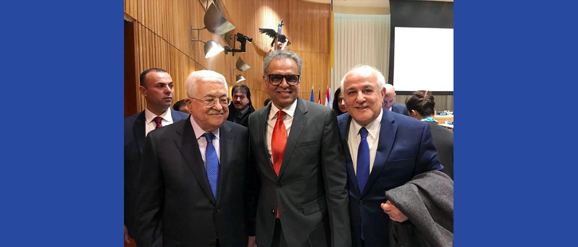 Amb. Syed Akbaruddin with President Mahmoud Abbas and Amb. Riad Mansoor of Palestine the day Palestine assumed the Chair of G-77, United Nations, New York.