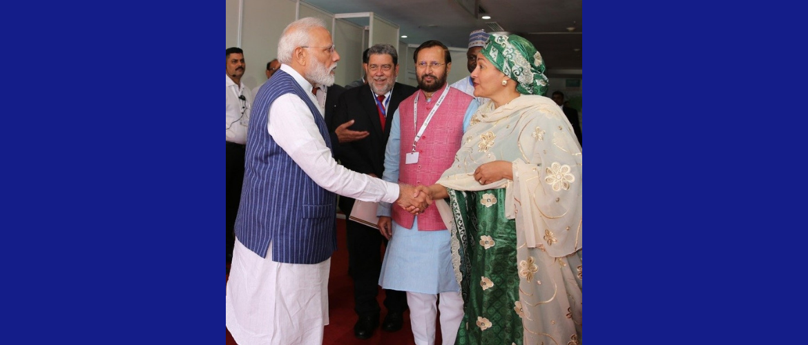 H.E. Ms. Amina J Mohammed, UN Deputy-Secretary General with Prime Minister Narendra Modi on the sidelines of 14th Conference of Parties of the UN Convention to Combat Desertification