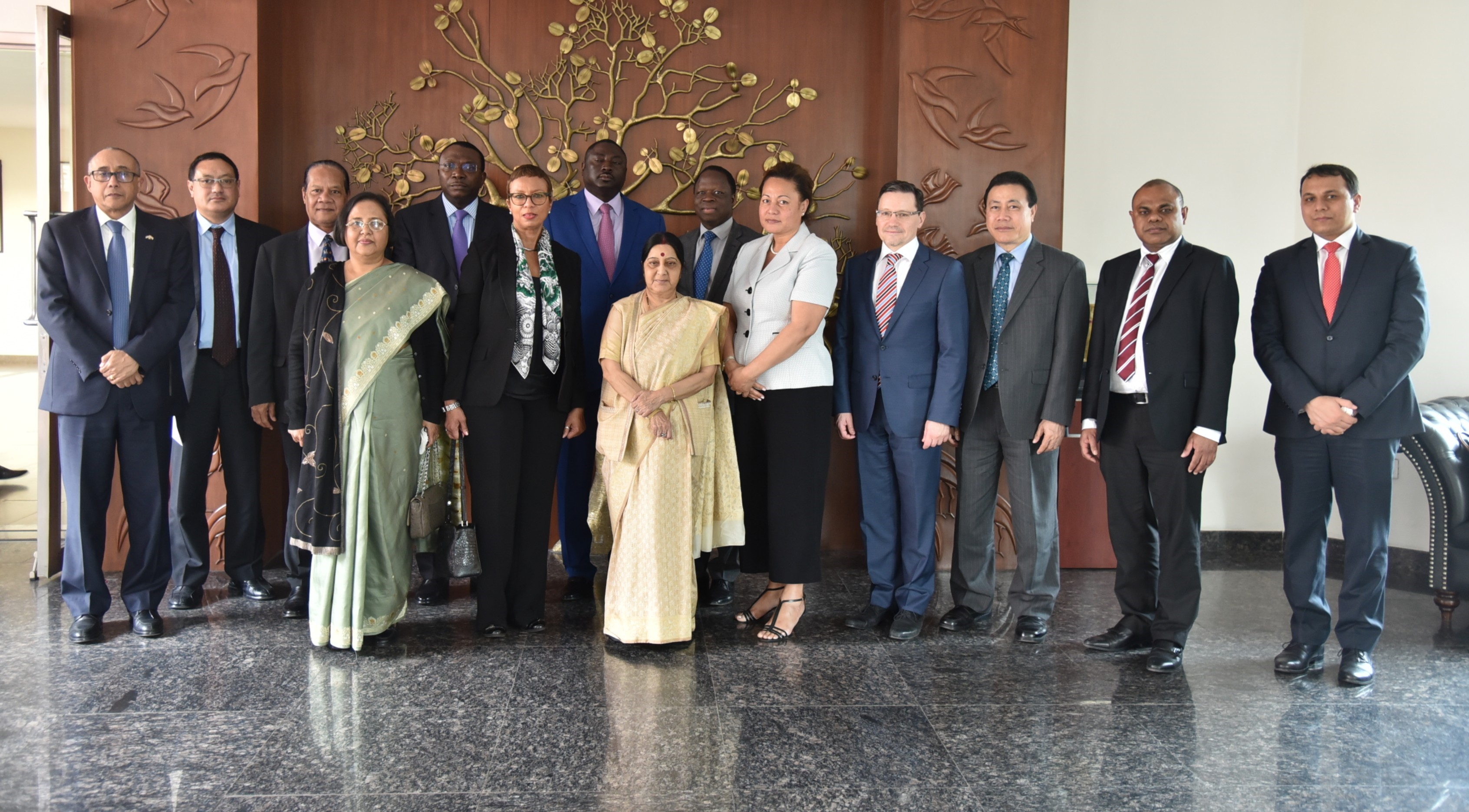 UN Ambassadors visiting India call on External Affairs Minister