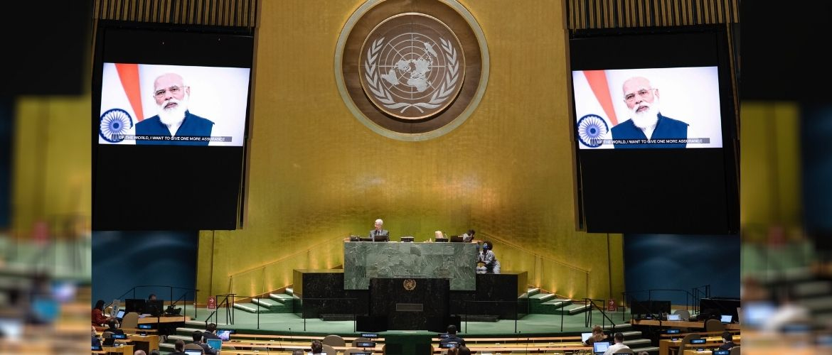 Prime Minister Narendra Modi addresses the 75th Session of the United Nations General Assembly
