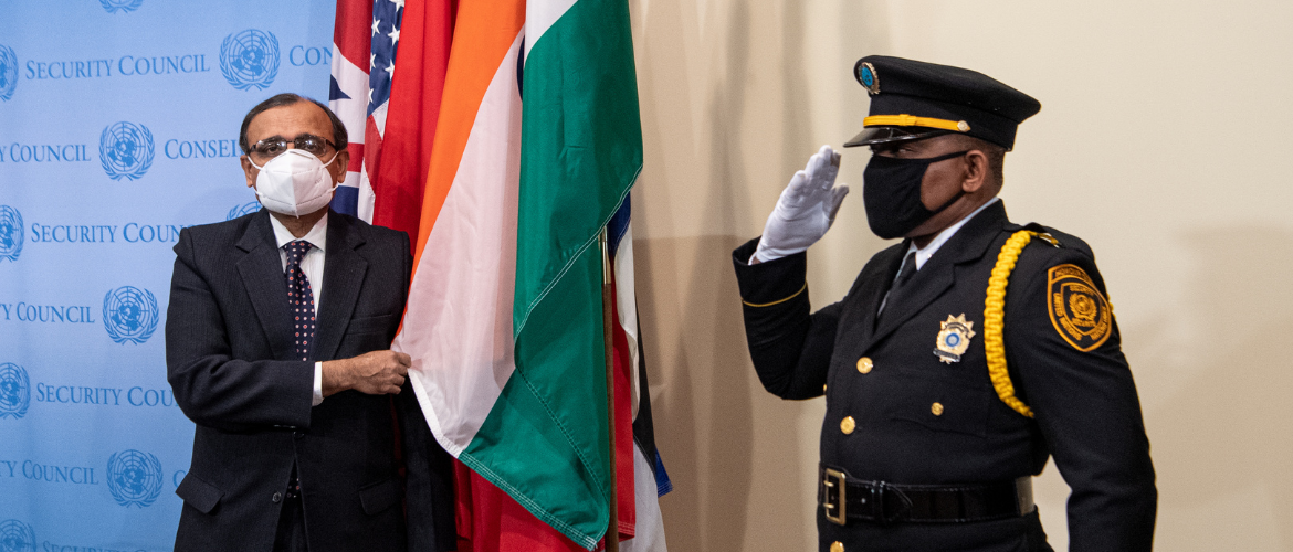 PR Amb. T.S. Tirumurti  at the flag installation ceremony for incoming UNSC Members